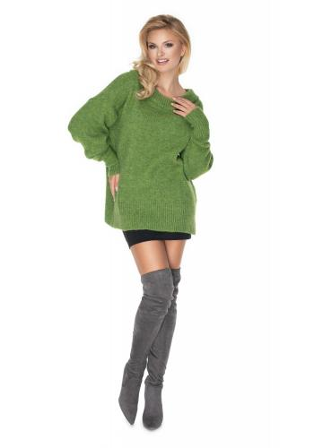 Zelený módní oversize svetr pro dámy