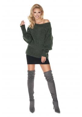 Stylový dámský oversize svetr v khaki barvě