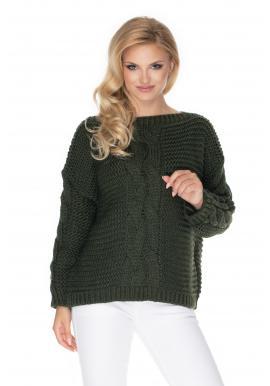 Khaki oversize svetr s ozdobným copem pro dámy