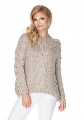 Oversize béžový svetr s ozdobným copem pro dámy
