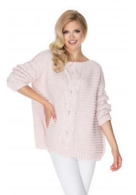 Módní svetr s ozdobným copem růžové barvy