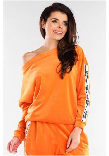 Oranžová velurová mikina s kontrastními pásy pro dámy