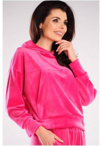 Dámské velurové mikiny s kapucí v růžové barvě