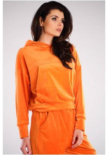 Velurová dámská mikina oranžové barvy s kapucí