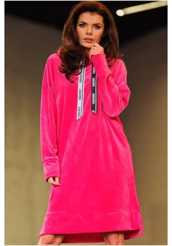 Růžové velurové šaty s dlouhým rukávem pro dámy