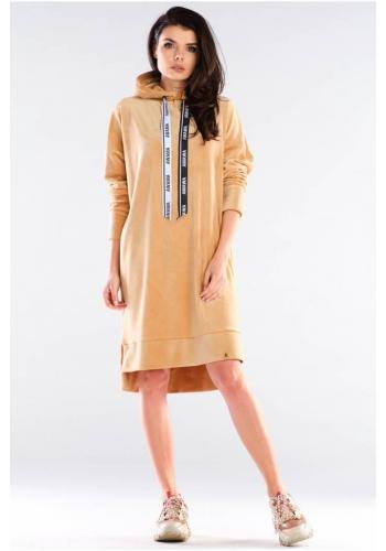 Dámské velurové šaty s dlouhým rukávem v béžové barvě