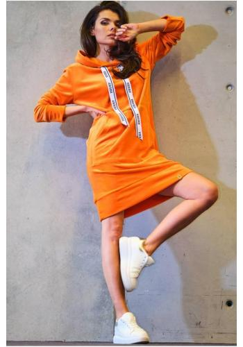 Oranžové velurové šaty s velkou přední kapsou pro dámy