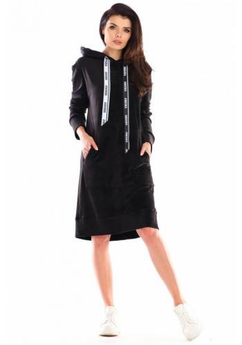 Velurové dámské šaty černé barvy s velkou přední kapsou