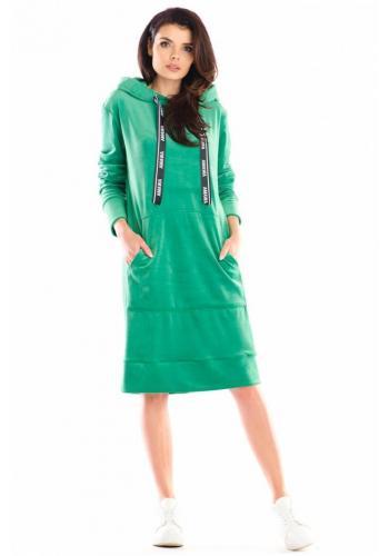Dámské velurové šaty s velkou přední kapsou v zelené barvě