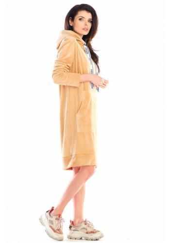 Béžové velurové šaty s velkou přední kapsou pro dámy