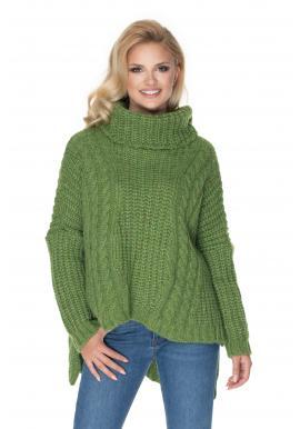Rolákový oversize svetr zelené barvy