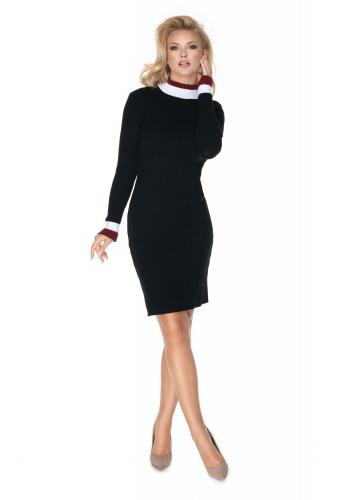 Tužkové dámské černé šaty s dlouhým rukávem
