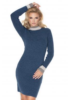Stylové tužkové šaty s dlouhým rukávem v modré barvě