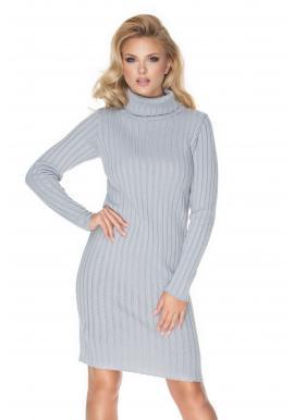Pletené rolákové šaty s dlouhým rukávem šedé barvy