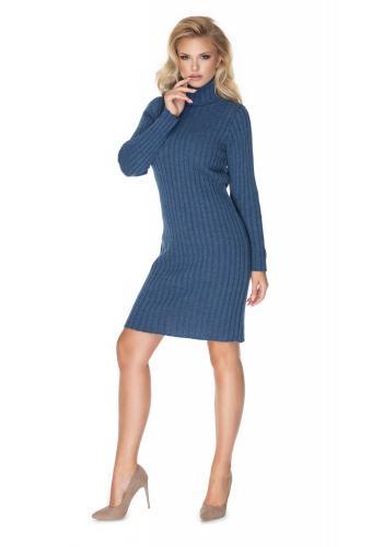 Stylové pletené šaty s dlouhým rukávem v modré barvě