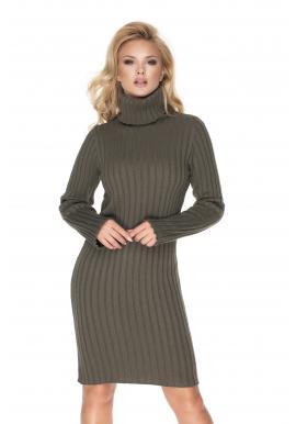 Khaki pletené šaty s dlouhým rukávem pro dámy