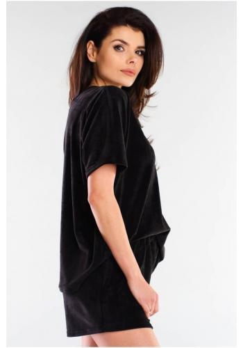 Velurové dámské šortky černé barvy s volným střihem