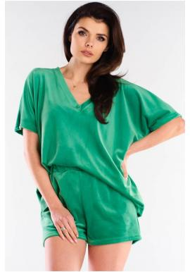 Zelené velurové šortky s volným střihem pro dámy