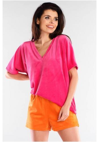 Velurové dámské šortky oranžové barvy s volným střihem