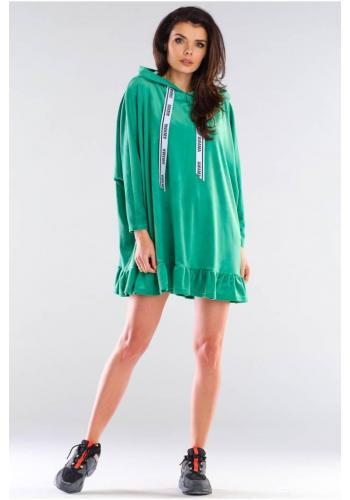 Oversize dámská mikina zelené barvy s kapucí
