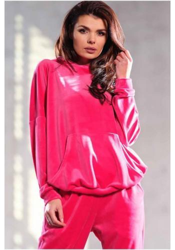 Volná velurová dámská mikina růžové barvy s kapucí