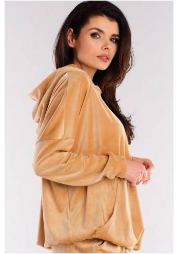 Volná velurová dámská mikina béžové barvy s kapucí