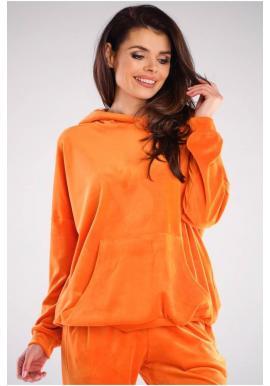 Oranžová volná velurová mikina s kapucí pro dámy
