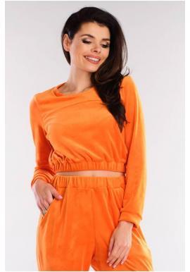 Oranžová krátká velurová mikina pro dámy