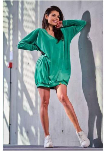 Velurové volné dámské šaty zelené barvy s dlouhým rukávem