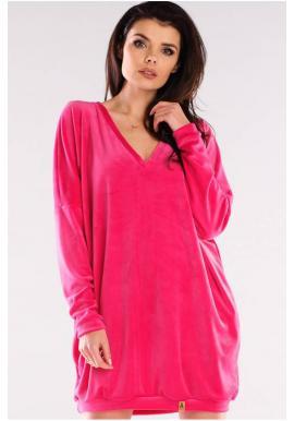 Dámské velurové volné šaty s dlouhým rukávem v růžové barvě