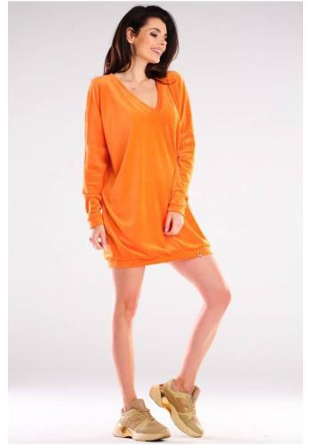 Oranžové velurové volné šaty s dlouhým rukávem pro dámy