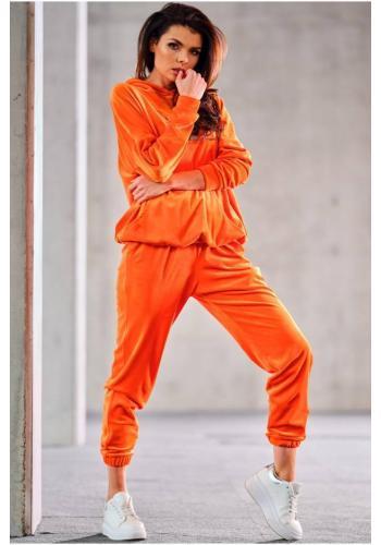 Oranžové velurové tepláky s manžetami pro dámy