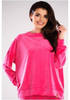 Dámské velurové oversize mikiny v růžové barvě