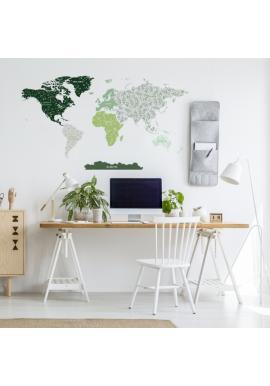 Nálepka na zeď v podobě mapy světa s motivem lístků