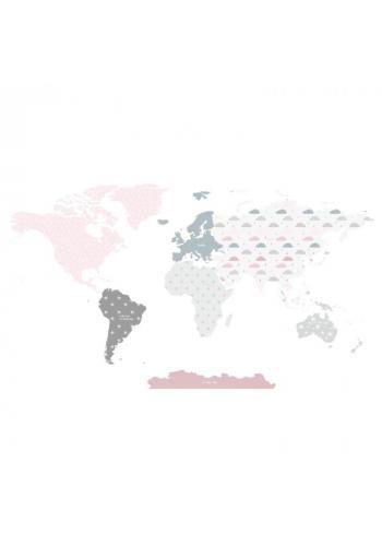 Nástěnná nálepka v podobě mapy světa v růžové barvě