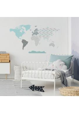 Sada nálepek v podobě mapy světa tyrkysové barvy