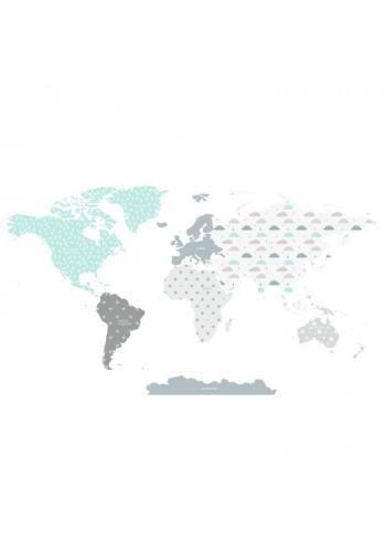 Dětská sada nálepek v podobě mapy světa s motivem modrých mráčků