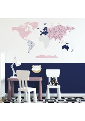 Ružová sada nálepiek na stenu v podobe kontinentov