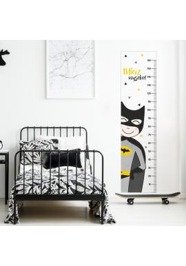 Nálepka na zeď - bílý výškový metr s Batmanem