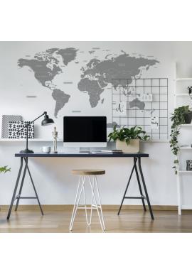 Šedá sada nálepek na stěnu v podobě mapy světa