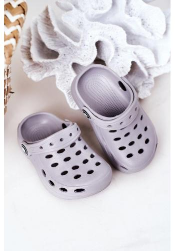 Šedé gumové pantofle pro děti