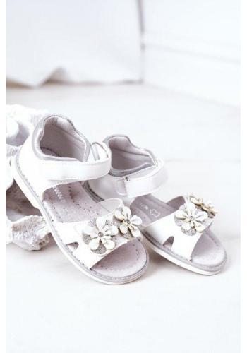 Trendy sandále pre divečatá s kvietkami bielej farby