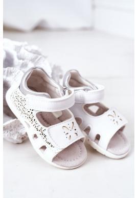 Dívčí bílé sandály na suchý zip