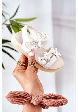 Letní sandály s ozdobnými motýlky v bílé barvě