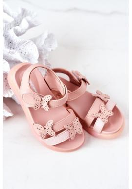 Módní růžové sandály s ozdobnými motýlky
