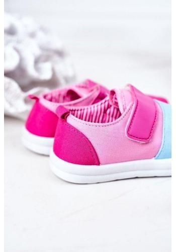 Dívčí růžové tenisky na suchý zip