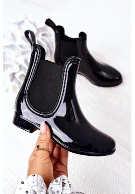 Módní černé kozačky do deště pro dívky
