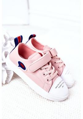 Dívčí sportovní tenisky s popisem růžové barvy
