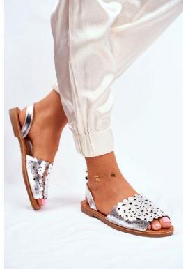 Nazouvací dámské elegantní sandály ve stříbrné barvě ve slevě