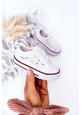 Trendy dětské tenisky s krajkou v bílé barvě